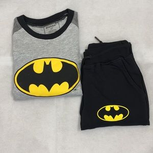 Batman Sweatpants Pajama Set Grey and Black Pocket